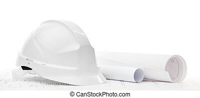 White hard hat near working drawings, isolated on white -...