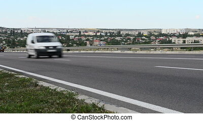 Highway traffic. Close view