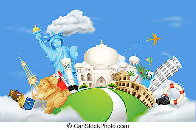 Travelling on Cloud - illustration of historical monument on...