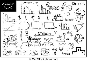 Business Element - illustration of set of hand drawn...