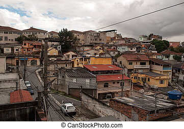 slum suburb of sao paulo - residences in the poor suburb of...