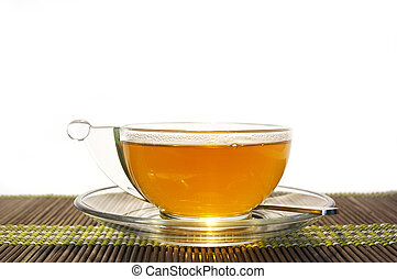 Transparent cup of tea on a white background