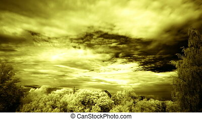 sepia clouds, infrared time lapse - clouds, infrared filter,...