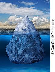 Iceberg floating in ocean - Iceberg floating in blue ocean,...