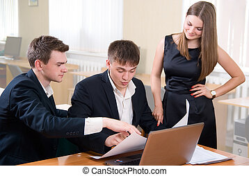 Business meeting of young people Discussion of new idea