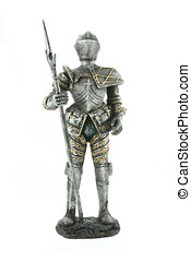 Knight in Armour - Knight in armour with spear isolated on...