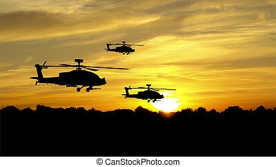 Helicopter silhouettes - Flying helicopter silhouettes on...