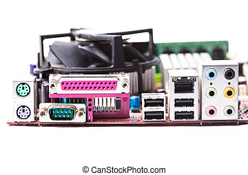 Ports on the motherboard of personall computer closeup