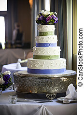 Wedding Cake - Wedding cake with flower topper
