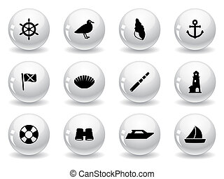 Web buttons, seaside icons