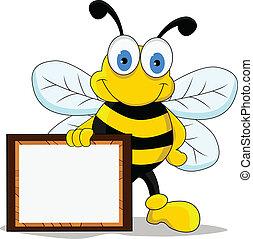 zabawny, rysunek, Pszczoła, litera