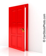 felett, ajtó, fehér, háttér, piros