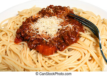 Spaghetti bolognaise macro horizontal - A plate of spaghetti...