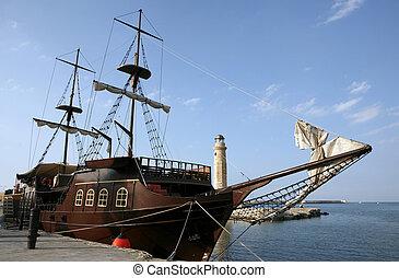 pirata, barco, puerto