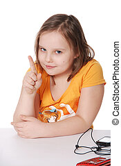 The little girl threatens with a finger