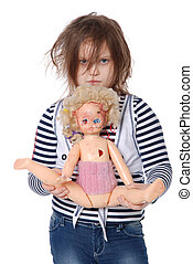 Little girl with  spoiled doll