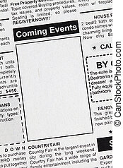Coming Events - Fake Classified Ad, newspaper, Coming Events...