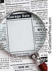 Garage Sale - Fake Classified Ad, newspaper, Garage Sale...
