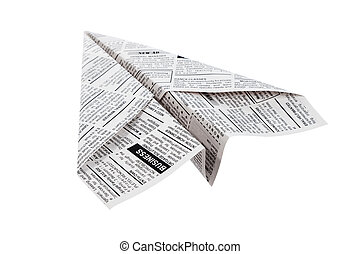 Newspaper Airplane, Classified Ad, business concept.