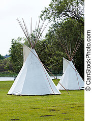 Indian tepee - White Indian tepee close up