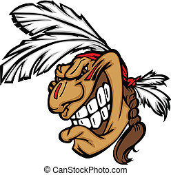 Grinning Indian Brave Mascot Head Vector Cartoon - Cartoon...