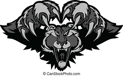Black Panther Mascot Pouncing Graphic Illustration - Graphic...