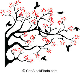 tree silhouette with bird fying - vector illustration of...