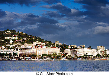 Cannes - Picture of the city of Cannes showing a part of the...