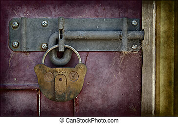 old locked door - big old lock keeps this door shut
