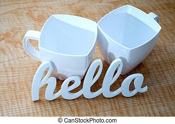 Hello with Coffee Mugs