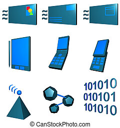 Telecommunications Mobile Industry Icons Set - Green Blue -...