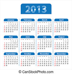 Blue glossy calendar for 2013. Sundays first. Vector...