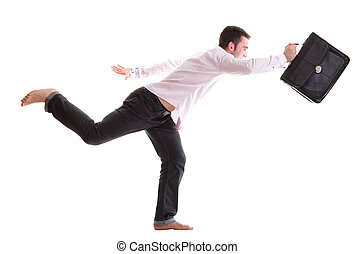 Businessman running with a briefcase isolated - Businessman...