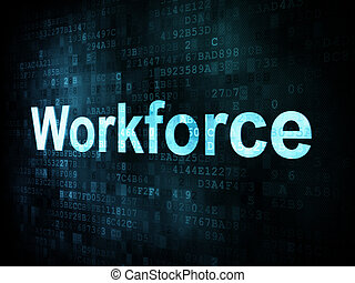 Job, work concept: pixelated words Workforce on digital...
