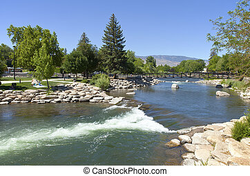 Park and river near downtown Reno, NV - Downtown Reno public...