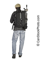 Phtographer hiker, back view on white background
