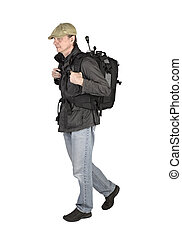 Phtographer hiker, side view on white background