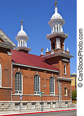 Church steeple and crosses, Reno NV - Church steeples and...
