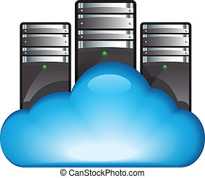Cloud computing concept - Cloud server. Vector illustration...