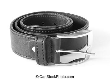 Rolled black leather belt