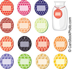 Labels for jam from fruits and berries - Colorful labels...