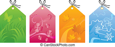 Labels with the seasons - Colorful labels with seasonal...