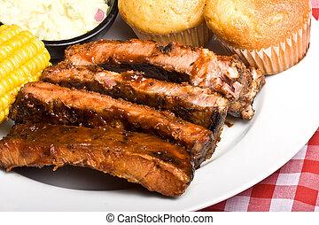 bbq rib - fresh spicy tasty hot off the grill ribs
