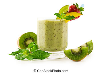 Kiwi smoothie - A glass of kiwi smoothie