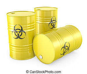 Three yellow barrels with biohazard symbol, isolated on...
