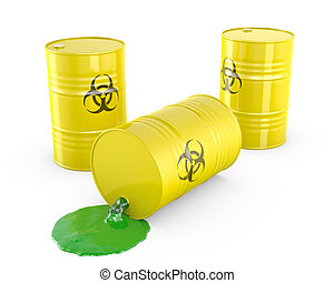 Toxic waste spilling from barrel, isolated on white...