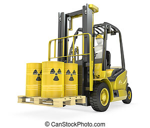 Fork lift truck with radioactive barrels, isolated on white...