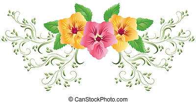 Pansies with green floral ornament