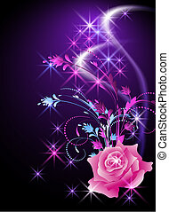 Rose and stars - Glowing background with rose and stars