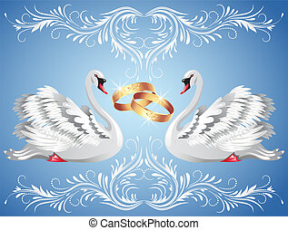 Wedding rings and two swans - Card with wedding rings and...